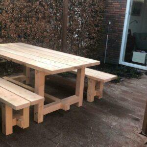 Picknicktafel met losse banken 4 meter