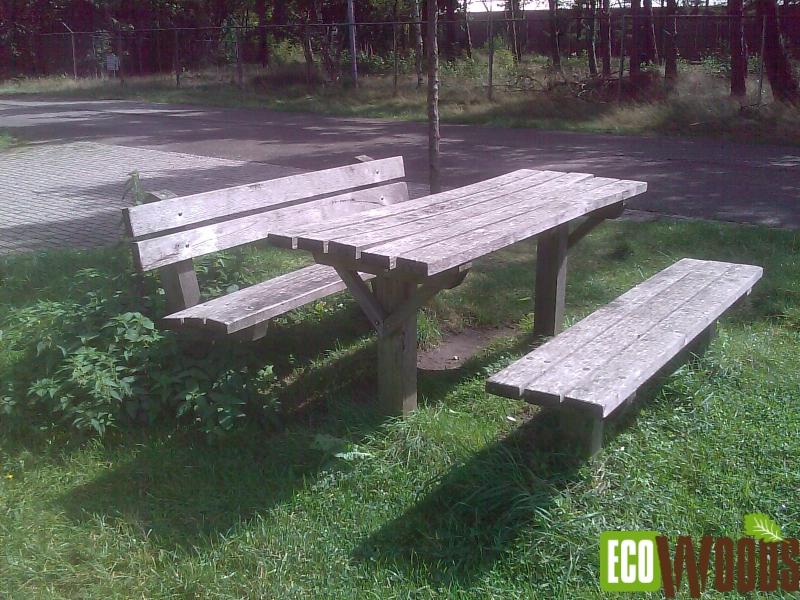 Picknickset tafel met 2 banken recht model
